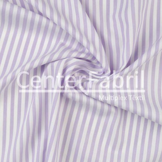 Tecido Tricoline Listrado Lilas Lg 1,50m 100%algodão Ref L227 1037