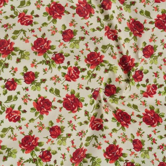 Tecido Tricoline Floral Vermelho Larg 1,47mt 100% Algodão