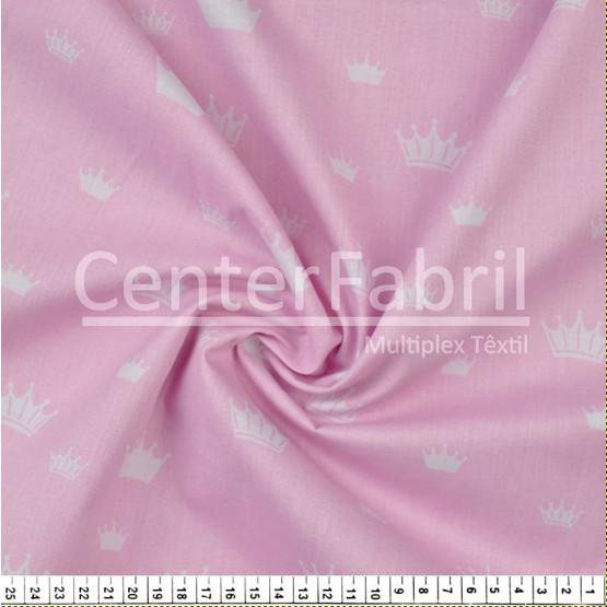 Tecido Tricoline estampa Coroa Branca Fdo Rosa Larg 1,47mt 100%algodão Preço por Metro -120gr/m2