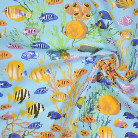 Tecido Tricoline Peixes mar azul larg 1,47mt 100% Algodão 120gr/m2