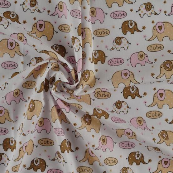 Tecido Tricoline Elefantinhos Cute bege e rosa larg 1,47mt 100% Algodão