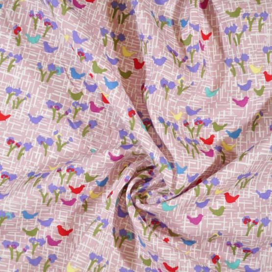 Tricoline Floral e Pássaros Larg 147cm 100%algodão