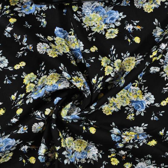 Tricoline estampa  floral azul fundo preto - 100% algodão - tambem no atacado