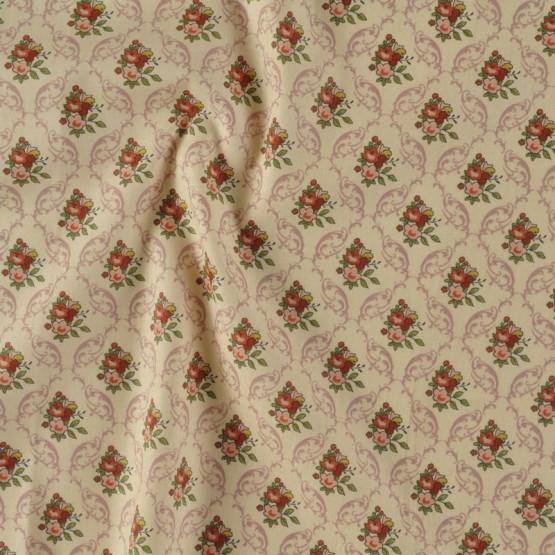 Tecido Tricoline Damask Aroma Rosê Larg 150cm 100% Algodão