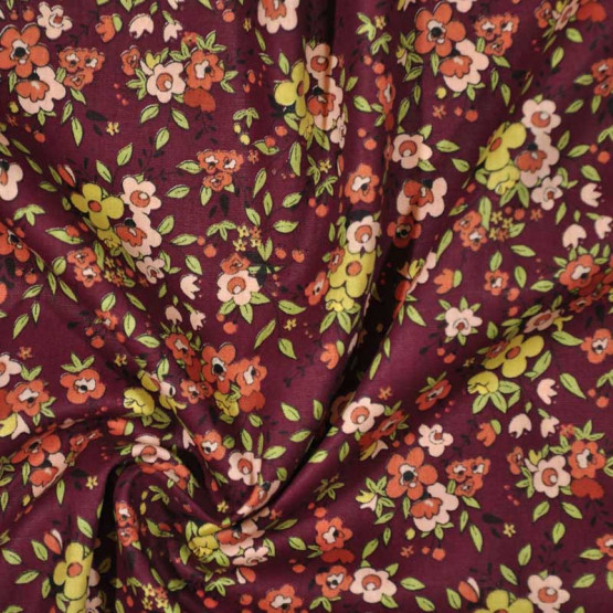Tecido Tricoline Floral Aroma Vinho Larg 150cm 100% Algodão