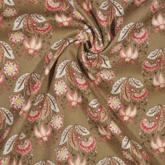 Tecido Tricoline Floral Jacobean Marrom Larg 150cm 100% Algodão