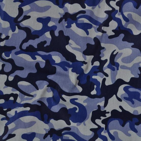 Tecido Tricoline Cannes Camuflado Azul 2 Lrg 1,50mt 100% Algodâo