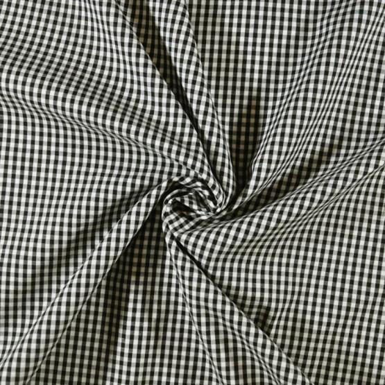 Tecido Tricoline Xadrez Fio Tinto Preto Larg.147cm 200gr/m2