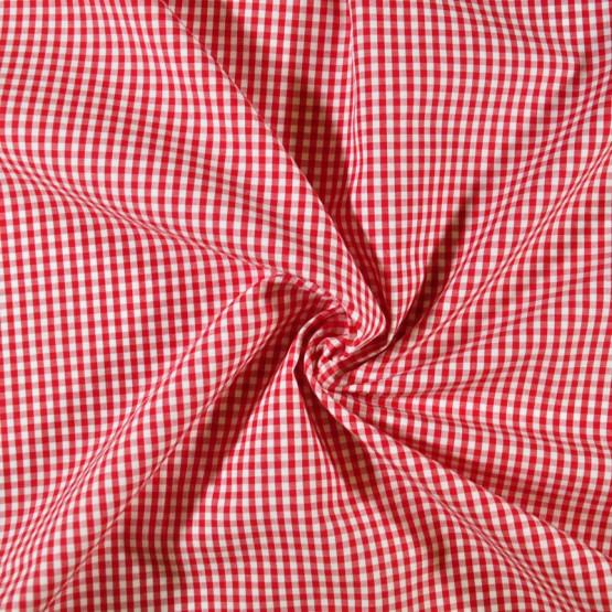 Tecido Tricoline Xadrez Fio Tinto Vermelho Larg.147cm 200gr/m2