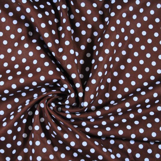 Tricoline bolas azuis e fundo marrom 100%algodão