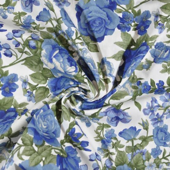 Tecido Tricoline Est Coleção Roses In Bloom - Rosas Bege c/ Azul Fdo Branco Largura 150cm 100%Algodão 115gr/m2