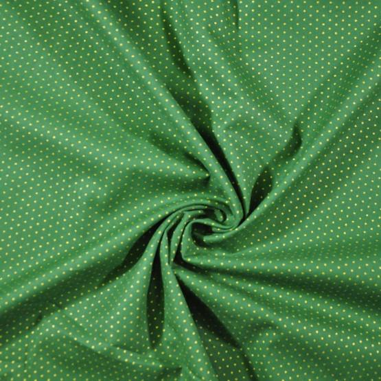 Tecido Tricoline Est Coleção Natal 2021 - Poa Fdo Verde c/ Dourado Largura 150cm 100%Algodão 115gr/m2