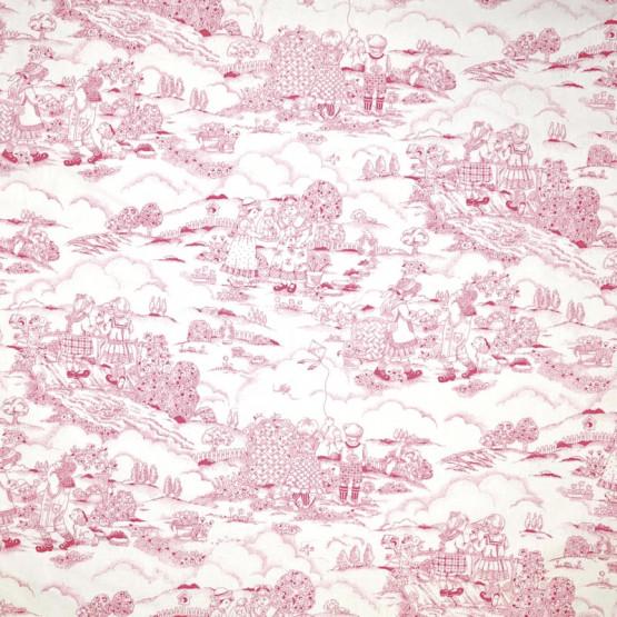 Tecido Toile de Jouy Vie des Enfants Rosa 100%algodão PRECO POR METRO