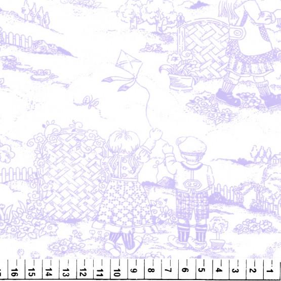 Tecido Toile de Jouy Vie des Enfants Lilas 100%algodão PRECO POR METRO