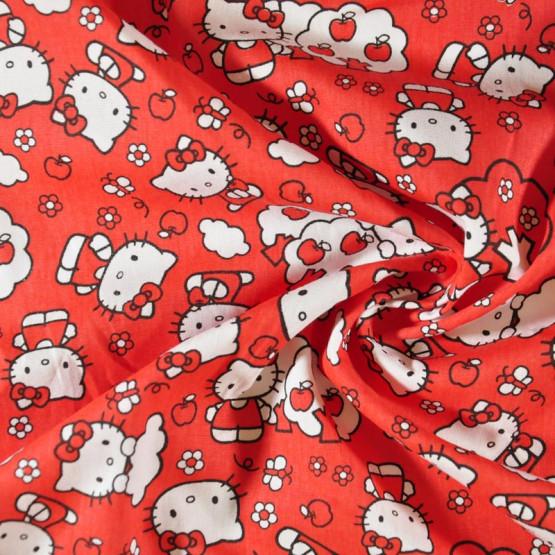 Tecido Tricoline Estamp Col Hello Kitty - Apple Larg.148cm 100%Algodão 115grsgm/m2