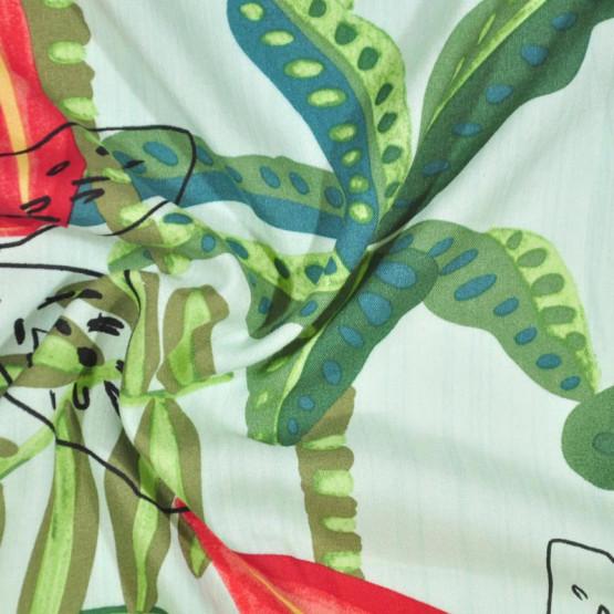Tecido Viscose Estampada Fdo Verde Largura 140cm 100%Viscose 115gr/m2
