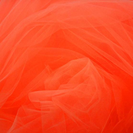 Tule Papaya/Laranja Fluor Largura 240cm 100% Poliamida 9,25gr/m2