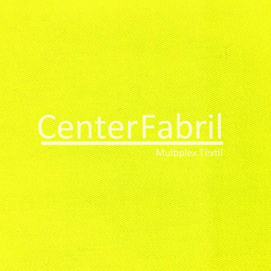 """Brim Sarja """"anti chama"""" UNIFORT FR Amarelo Fluorescente aplicação de retardante Lg.160cm 100% Algodão 260gr/m². Conserv 1-D/2-2/3-1/4-2"""