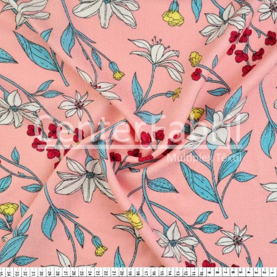 Tecido Rústico Estampado Floral Fdo Rosa Largura 147cm 100%Poliester 168gr/m2