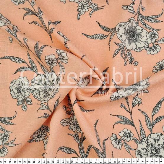 Tecido Rústico Estampado Floral Fdo Salmão Largura 147cm 100%Poliester 168gr/m2