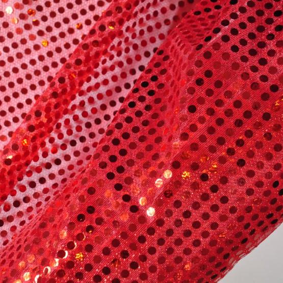 Tecido Paetê Laminado Vermelho e fundo Vermelho 100% poliester Larg.100cm - Conserv 1-P/2-2/3-2/5-4/6-8