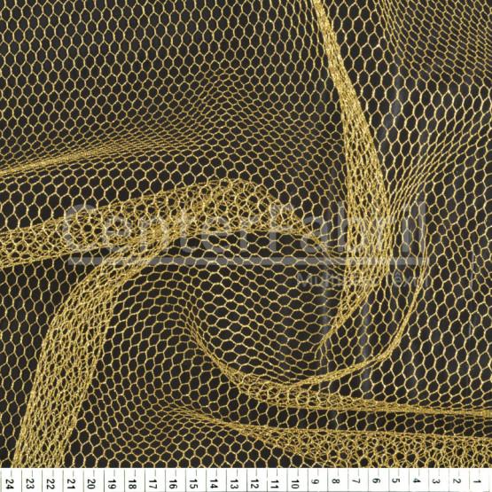 Tecido Filó Metalizado Ouro Lg155cm -100% Poliester