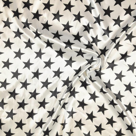Tecido Cetim estampado Estrelas Pretas Larg. 1,47mt 100% Poliester