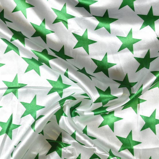 Tecido Cetim estampado Estrelas Verdes Larg. 1,47mt 100% Poliester