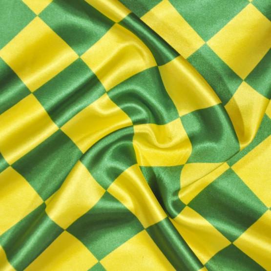 Tecido Cetim estampado Losango Verde e Amarelo 5cm  Larg. 1,47mt 100% Poliester 78gr/m2