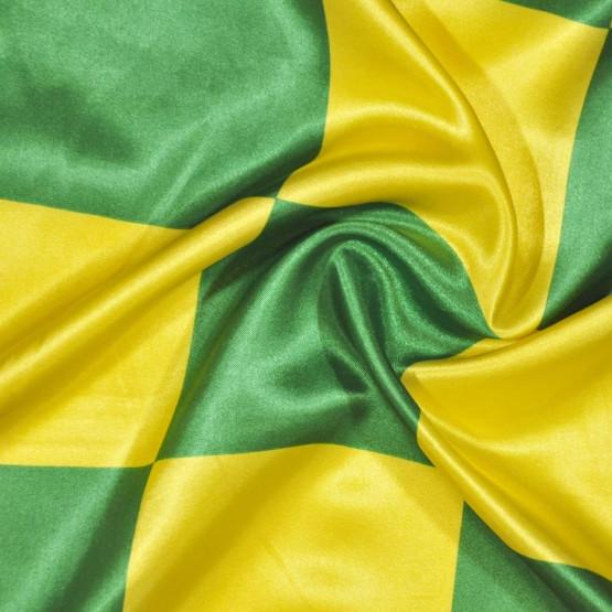Tecido Cetim estampado Quadrado Verde e Amarelo 10cm Larg. 1,47mt 100% Poliester 78gr/m2