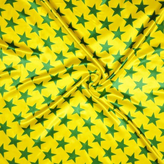 Tecido Cetim estampado Estrelas Verde e Amarelo Larg. 1,47mt 100% Poliester 78gr/m2