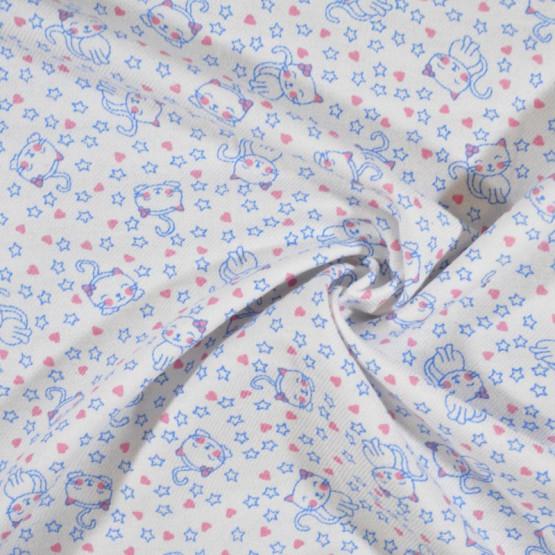Tecido Flanela Estampa Infantil Sarja Plus Puppy Fdo Branco Larg. 80cm 100%Algodão 184gr/m2