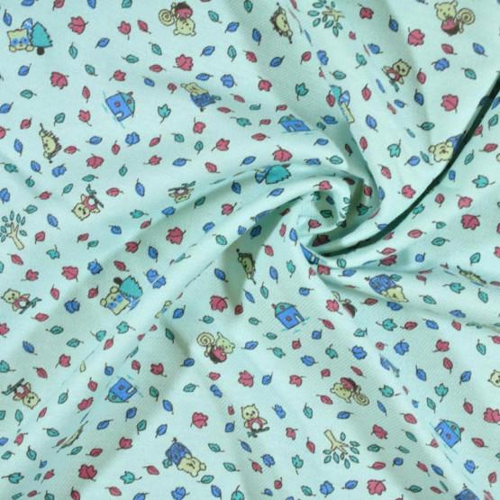 Tecido Flanela Estampa Infantil Sarja Plus Pituca Fdo Verde Agua Larg. 80cm 100%Algodão 184gr/m2