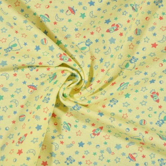 Tecido Flanela Estampa Infantil Sarja Plus Lele Fdo Creme Larg. 80cm 100%Algodão 184gr/m2