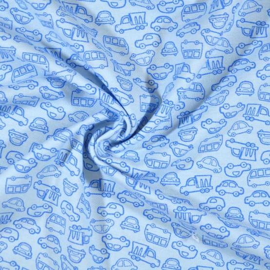 Tecido Flanela Estampa Infantil Sarja Plus Mack Fdo Azul Bebe Larg. 80cm 100%Algodão 184gr/m2