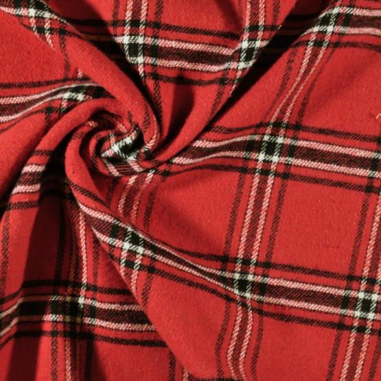 Tecido Flanela Jamaica Flex Vermelho Larg.147cm 51%Poliéster 33%Algodão 16%Viscose 149gr/m2
