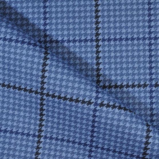 Tecido Lonita Essence Gales Azul Larg.140cm 62%Algodão 38%Poliéster 275gr/m2