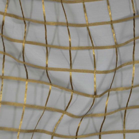 Voil  Quadriculado Bronze e Fundo cinza 100%Poliester Lg.280cm de R$ 39,80 por