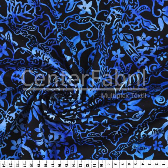 Tecido Tricolline Batik Original Azul com Preto Larg 110cm 100%Algodão Conserv 1-I/2-2/3-2/4-1/5-2/6-1