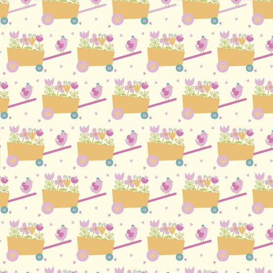 Tecido Tricoline Coleção Signature - Carrinhos de Flores Largura 147cm 100%Algodão Conserv 1-I/2-2/3-2/4-1/5-2/6-1