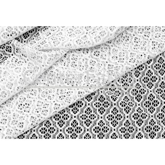 Tecido Renda Karina Branco Larg 150cm 88%Poliamida 12%Elastano 96gr/m2. Conserv. 1-H/2-2/3-3/5-3/6-8